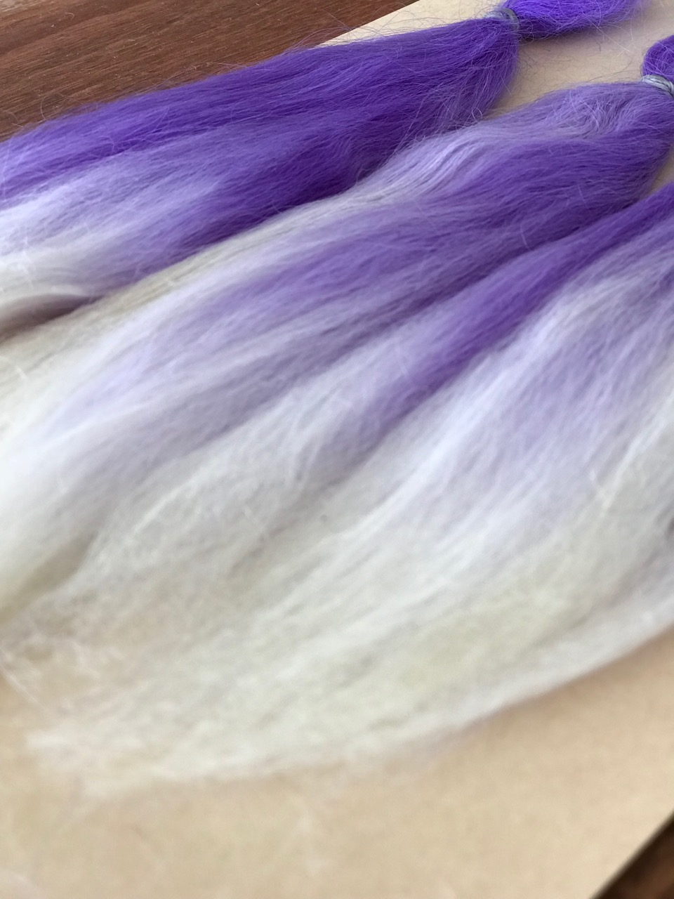Combed Doll's Hair – Dyed Purple Ombre – Robust