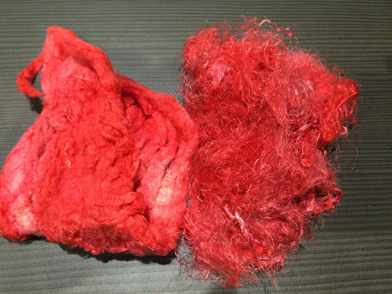 Hand-dyed Silk Noils and Silk Waste – Red Hot, So What