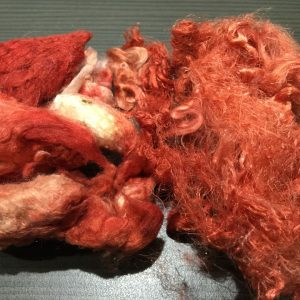 Hand-dyed Silk Noils and Silk Waste – Tangerine