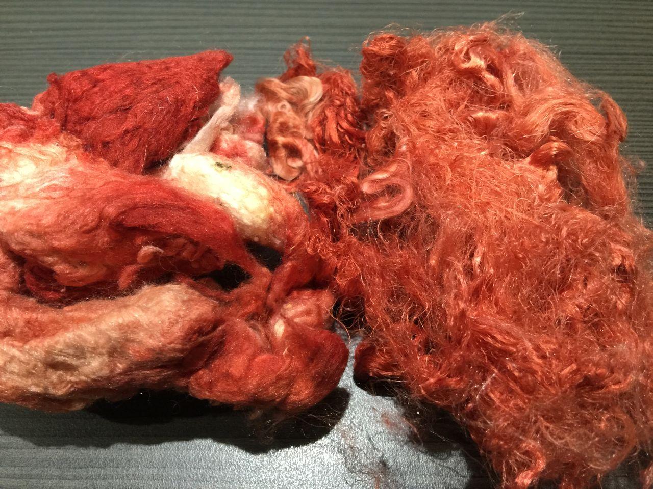 Hand-dyed Silk Noils and Silk Waste – Tangerine