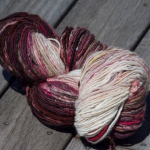 Gradient Handspun Yarn – Mahogany/Purple/Pinks to White
