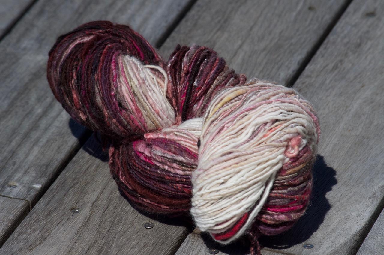 Gradient Handspun Yarn – Mahogany/Purple/Pinks to White
